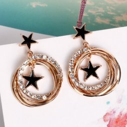 A-FX-E6102star Black Star Gold Circle Loop Diamonds Earstuds