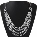 C0150728112 Silver pearl layer korean long necklace accessories