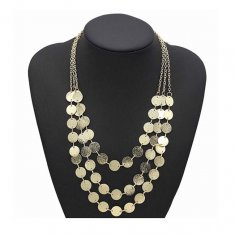 A-FF-HT-83 Gold Ruff Coins Three Layered Shiny Elegant Necklace