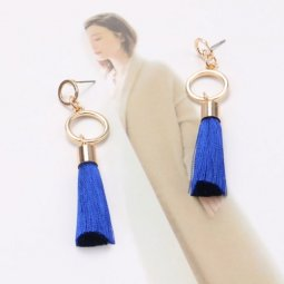 A-QM-113BLUE Blue Tassels Gold Ring Circles Earstuds Malaysia