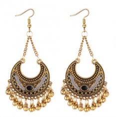 P131300 Moon Crescent Two Tone Black Gold Bells Hook Earrings