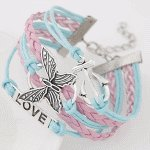 C015090119 Butterfly charm korean friendship bracelet wholesale