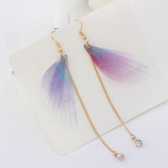 P126023 Purple Butterfly Pink Blue Dangling Hook Earrings