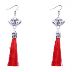 P127505 Red Tassel Silver Butterfly Hook Earrings Malaysia Shop