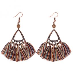 A-DW-HQE934mix Triangle Mixed Colour Tassel Hook Earrings