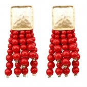 A-SD-XL0742red Gold Square Dangling Red Beads Earstuds Shop
