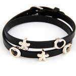 C11041434 Black flower love charms belt style korean bracelet