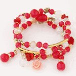 C09070358 Red rose elastic gold korean bracelet accessories shop