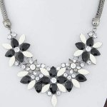 C014030241 Black white flower spring choker necklace malaysia