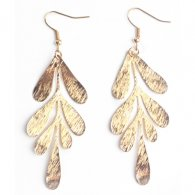 A-LG-ER0622gold Korean Style Golden Leaf Hook Earrings