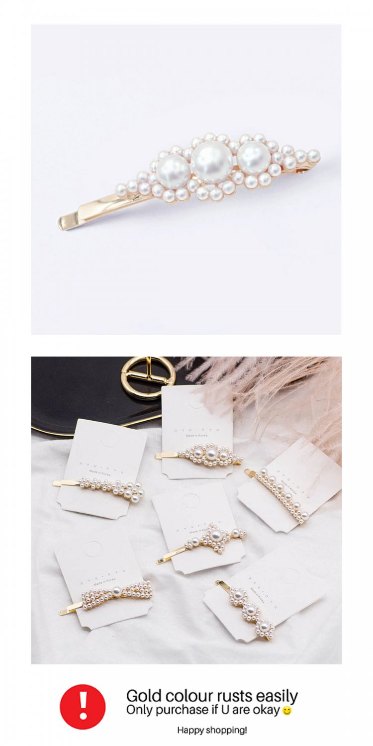 A-MDD-FLOWERS White Pearls Flowers Elegant Korean Hairpins
