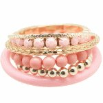 P99096 Pink beads gold korean bangle set accessories wholesale
