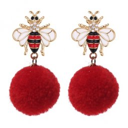 P133133 Red Korean Bee Elegant Earstuds Wholesale Shop