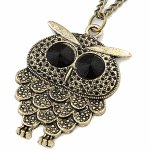 C09033221 Big eye owl korean long necklace accessories malaysia