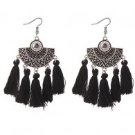 P127417 Black Antique Silver Moon Black Tassel Earrings