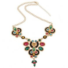 A-H2-100X568 Bohemian colourful crystals statement necklace whol