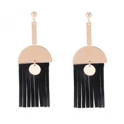 P133674 Black Rubber Tassels Gold Semicircle Dangling Korean Ear