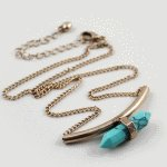 B-K-spiketur Turquoise spike bead strong korean short necklace