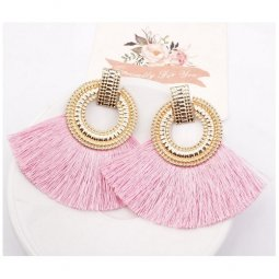 A-SD-XL113251goldpink Pink Huge Tassels Gold Ring Vogue Earstuds