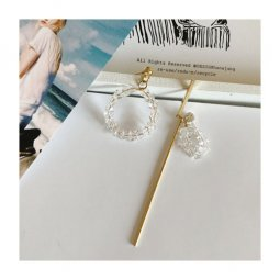 A-TT-292CRYSTAL Uneven Clear Crystal Gold Korean Trendy Earstuds
