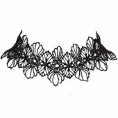 A-Q-Q8214 Butterfly black lace tattoo choker necklace