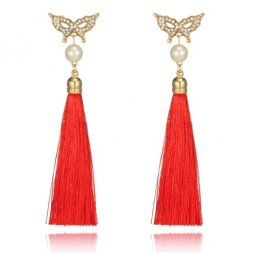 A-YG-5864red Red Tassels Bead Butterfly Mask Pearl Earstuds