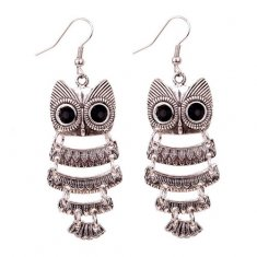 A-DW-5300silver Silver Vintage Owl Hook Earrings Malaysia