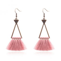 A-HH-HQEF1632(dustypink) Hollow Triangle Classic Tassel Pink