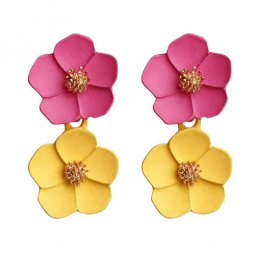 A-FX-6491RY Dark Pink With Yellow Flowers Elegant Earstuds