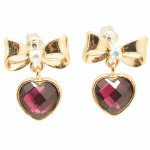 C11030711 Purple heart ribbon bow earstuds malaysia online shop