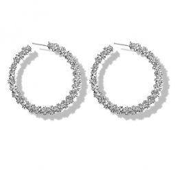 A-yg-sku4272 White Crystals Blings Vogue Hoop Korean Earstuds