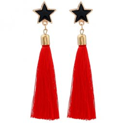 A-H2-105e357red Golden Edge Star With Red Tassel Earstuds