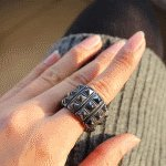 B-w-fy-1 Grey elegance korean chunky ring malaysia accessories