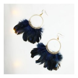 p129073 Blue Black Feather Exotic Fashion Style Earrings