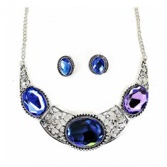 A-CJ-9479 Large Sapphire Blue Gemstones Necklace Set Statement