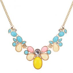 A-CJ-CZ9141 Candy flower colourful gold statement necklace