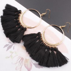 A-SD-SL218bla Black Tassels Round Bohemian Hook Earrings