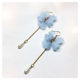 A-LG-ER0378(blue) Blue Flower Dangling Bead Korean Style Hooks