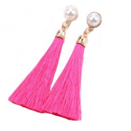 A-QMM-121pink Pink Tassel White Pearl Stone Earstuds Malaysia