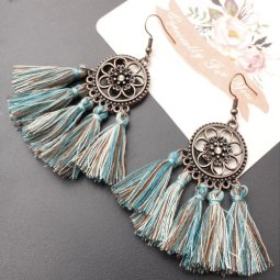 A-SD-XL0234vintage Green-Brown Tassel Vintage Flowery Earrings