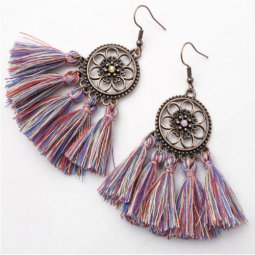 A-SD-XL0234mixcolour2 Mix Colours Vintage Tassel Hook Earrings
