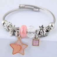 C0150706154 Pink Star Square Bead Diamonds Silver Charm Bracelet