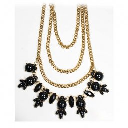 A-OSD-201311 Black Statement Necklace Layered Gold Chains
