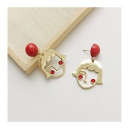 A-TT-967 Red Beads Girl With Blush Cute Trendy Korean Earstuds