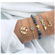 A-ZL-S393 World & Infinite Love Gold & Silver Bracelets Set