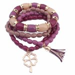 P113193 Purple peace beads korean elastic bracelet shop online
