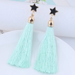 C11055632 Mint Green Star Dangling Korean Tassel Earstuds