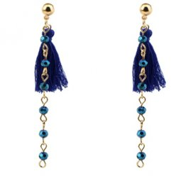 P128073 Blue Crystal Bead Tassel Hook Earstuds Wholesale