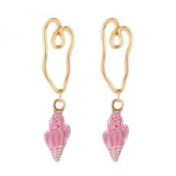 A-JW-9953 Trendy Golden Line Summer Fresh Pink Shells Earstuds