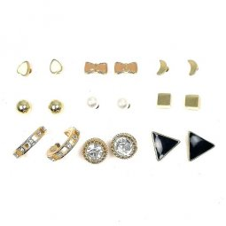 B-MLSF-A60202- Gold Pearl Moon Ribbon Diamond Triangle Earstuds